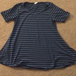 LuLaRoe Blue & Black Striped Irma Shirt S